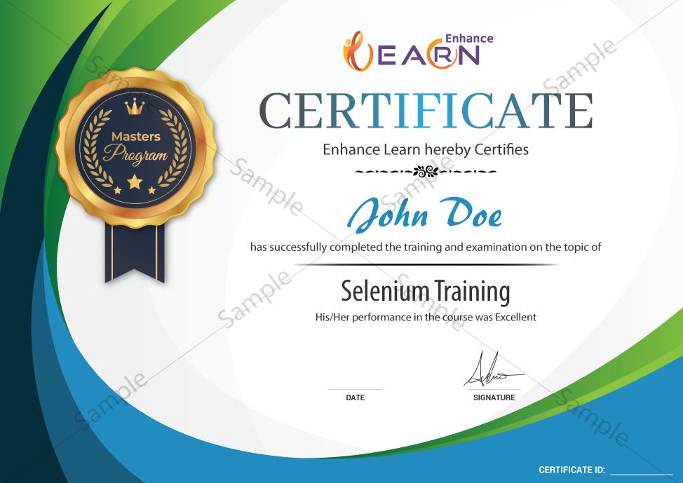 Selenium Testing Certificate